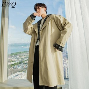 EWQ   men's wear 2020 autumn Plaid patchwork fake two-piece trench windbreaker for male Korean loose mid-length long coat 9Y3562