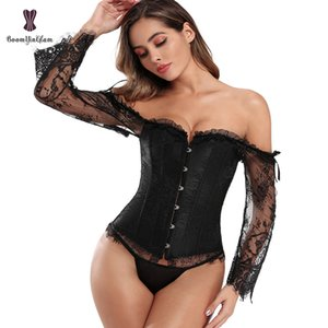 Long Floral Sleeves Women's Sexy Gothic Victorian Corset Vintage Lace up Bustier Off Shoulder Corsets Overbust Top X0123