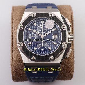 JF V2 JUAN PABLO MONTOYA 26030 Углеродное волокно из углеродного волокна BEZEL Steel Cal.2840 A2840 Автоматический хронограф Мужские часы Синяя текстура циферблат кожаные часы