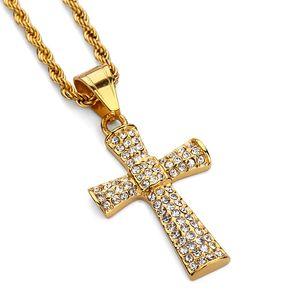 Fashion Chains Punk Rock Micro Men Cross Hip Hop Alloy diamond cross Pendant Necklace Stainless Steel 18k Gold Plated Long 60CM