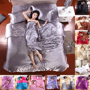 12 Colors Pure Satin Silk Solid Bedding Sets Twin Queen King Size Bed Set Bedclothes Duvet Cover Pillowcases Wholesale