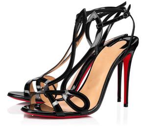 Lüks Markalar kadın Çift L Sandalet Yaz Kırmızı Alt Ayakkabı Lady Seksi Ayak Bileği Kayışı Yüksek Topuklu Stiletto Gelinlik EU35-43