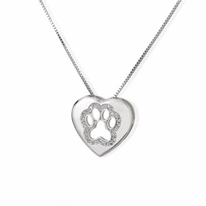 5pcs lot two color copper White Cubic Zirconia heart-shaped zircon Cute Dog Feet pendant necklace for birthday gift