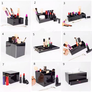Classic Acrylic Makeup Box Cosmetic Holder Desktop Mirror Makeup Tools Lipstick Jewelry Storage Tray Tissue Box For Wedding Box