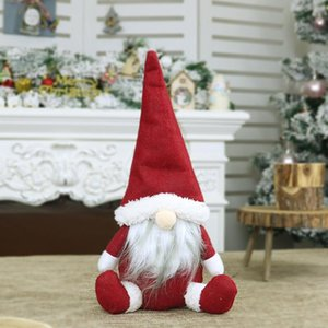 1PCS Christmas Faceless Doll Sitting Santa Claus Favor Party window Decorations for Home New Year Xmas Ornament Gifts
