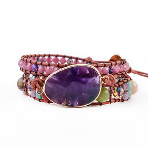 Leather Bracelets Handmade Natural Stones Charm Multi layers Wrap Bracelets Handmade Boho Bracelets Gifts Y200730