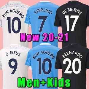 20 21 Jersey de football Manchester 2020 2021 Sterling Football Shirt city Rúben Kun Aguero de Bruyne Gesus Bernardo Mahrez Rodrigo Foden Forrran Men Hommes Kits enfants