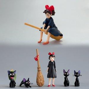 Inkanear Little Switch avec balai Mignonne Cats Noir Jardin Jardin Miniatures Décor Terrarium Action Figurine DIY Variez Ornement Jouet Y0107