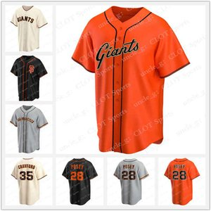 Özel Giants 28 Buster Posey Jersey 35 Brandon Crawford Formalar 40 Madison Bumgarner Johnny Cueto Brandon Kemer Alex Dickerson Beyzbol