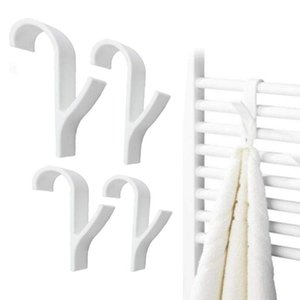 High Quality Hanger Percha for Heated Towel Radiator Rail Bath Hook Holder Clothes Hanger Plegable Scarf 4 and 6PCS White