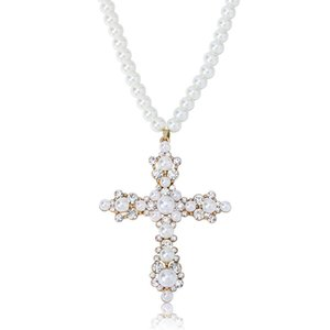 Hot Sale Hip Hop Pearl Cross Pendant Necklace with 30inch Pearl Necklace Chain Best Gift for Women
