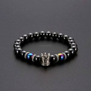 Fashion Crown Magnetic Hematite Bracelet Ancient Silver Crown Bracelet Black Hematite Beads women men Fashion Jewelry will and sandy