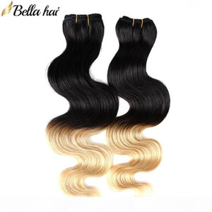 "Indian Ombre Human Hair Pein Extensions Dip tinte Dos tonos # T1B # 27 Color 14 ""-26"" 3pc Virgin Hair Weave Worla Bellahair"