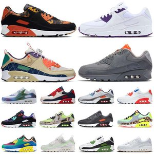 Nike Air Max 90 90s Running Shoes Uomo Donna New White Gum Court Purple Trail Team Gold Trainers Runners Scarpe sportive Eur 46
