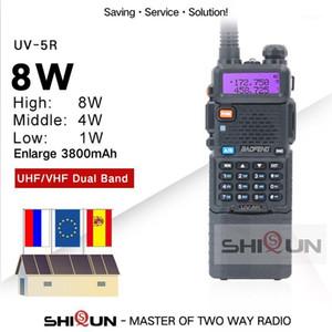 Walkie Talkie 업그레이드 8W Baofeng UV-5R 3800mAh 배터리 듀얼 디스플레이 밴드 UV5R 휴대용 UHF VHF 양방향 라디오 UV 5R1