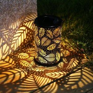 2PACK Solar Lantern Lights Outdoor,Garden Hanging Lights Metal Leaf Pattern Lights Lamp for Patio,Outside or Table (Leaf.)