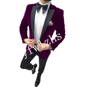 Handsome Velveteen Groomsmen Peak Lapel Groom Tuxedos Mens Wedding Dress Man Jacket Blazer Prom Dinner suits (Jacket+Pants+Tie)W291