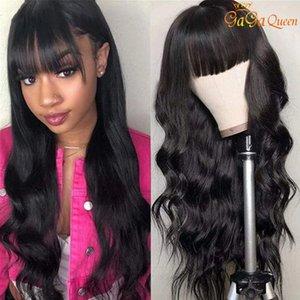 Wigs موجة الجسم مع الانفجار كامل آلة صنع شعر مستعار موجة الجسم الباروكات بيرو الجسم موجة شعر الإنسان الباروكات مع الانفجارات