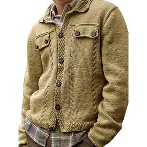 Pull Hommes Botton Cardigan Collier Manteau à manches longues à manches longues et vestes Hommes 2020 spacieux pull solide vêtements Homme