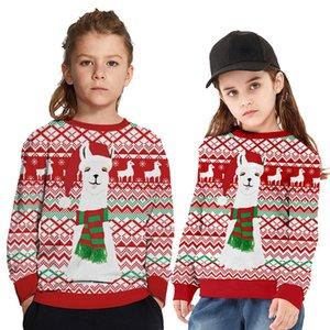 2020 Automne Sweat de Noël Sweat-shirt imprimé Digital Sweat-shirt Européenne et Américaine Grande Taille Ronde Top Tendance Q1201
