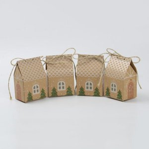 50pcs lot Kraft Paper Small house Candy Box Gift Box Packaging for Chocolate Cookies Xmas Party Supplies
