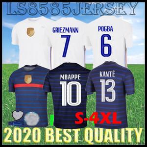 S-4XL 20 21 22 FFF 2 estrellas Jerseys de fútbol Mbappe Griezmann Pogba Kante Maillot de Foot Paris 2021 2022 Girud Blue Blue White Top Top Calidad Camisetas de fútbol