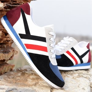 New men's sports casual shoes breathable wear-resistant outdoor fitness fashion lace-up low-cut color matching running shoes