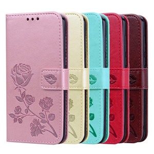 Cheap Cell Phone Purse Rose Leather Wallet Case with Card Slot Flip Stand For iPhone 12 X XS