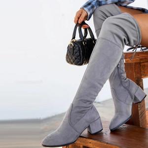 Sonbahar Kış Kadın Uyluk Yüksek Uzun Çizmeler Orta Topuklu Lace Up Platformu Kadın Ayakkabı Fermuar Bayanlar Diz Çizmeleri Üzerinde