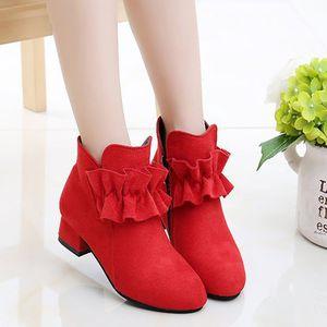 Mumoreip Girls Boots Bloock Tela Cálido Algodón Otoño Invierno Niños Botas de tobillo con volantes Niños Princesa Botas de tacón alto LJ200911
