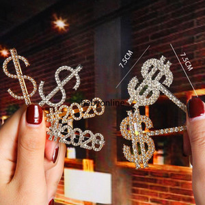 Letter hairpin shiny rhinestone English letter hairpin metal bangs clip simple fashion rhinestone flash Monday to Sunday FY4345
