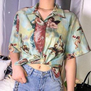 Женщины Блузки Рубашки Рубашки Женщины Пуговица Блузка Рубашка Урожай Печать Короткие Рукав Летние Топы Пляжный Стиль Улица Женская Мода