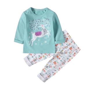 Saileroad Çocuk Karikatür Geyik Pijama Kızlar için Sevimli Hayvanlar Pijama Çocuklar Pijama Infantil Bebek Ev Giyim Erkek Pijama Giyim Y200328