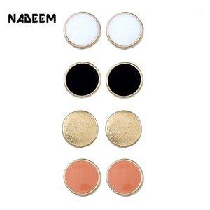 Orecchini per borchie a palla rotonda di moda nadeem set per misti 4 paia / set donne vendita calda carina smalto oro orecchini set gioielli1