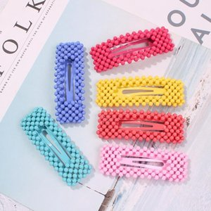 Unique Design Imitation Pearl Hairpins Barrettes Candy Color Triangle Square Hair Clip For Girls Hair Jewelry