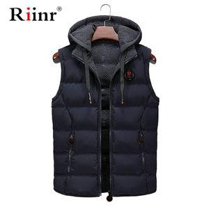 Riinr New Mens Jackets Sleeveless Vest Winter Men's Warm Cotton Vest Homme Casual Thicken Waistcoat Casual Coats 201214