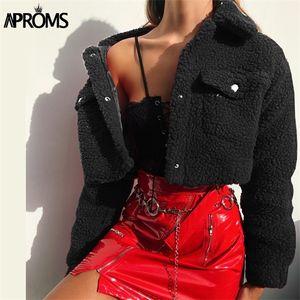 Aproms Fashion Black Pockets Buttons Jackets Women Long Sleeve Slim Crop Top Winter Coat Cool Girls Streetwear Short Jacket 2020 Q1120