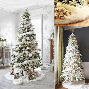 White Christmas Tree Skirt Plush Faux Fur Carpet Xmas Floor Mat Ornaments Merry Christmas New Year Tree Decoration