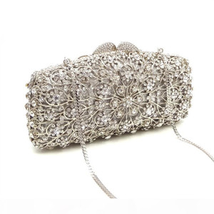 Designer-Classical women evening party bag bridal wedding shining diamond elegant clutches hollow out African crystal bag purses
