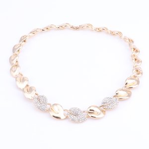 FashionThe New Leaf Crystal Bridal Jewelry Sets Rhinestone Necklace Earrings Bracelet Ring African Beads Wedding Jewelry Sets