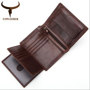 Cowather 2019 100% Top Kuh Echtes Leder kurze Brieftasche Hohe Qualität Männer Geldbörsen Vintage Geldbörse Carteira Q523 Freies Verschiffen Q1220