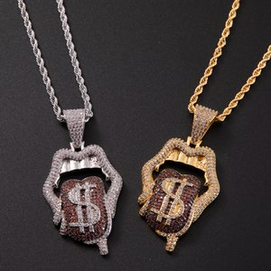 Tongue Lips Pendant In The $ Cubic With Rope Chain Men Women Hip Hop Necklace Jewelry Gift