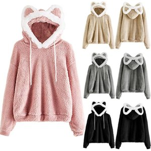 Womail Women Sweatshirts Lovely With Bears Ear Solid Hoodie Pullovers Warm Faux Fur Fluffy Sweatshirt Cute Casual Long Sleeve