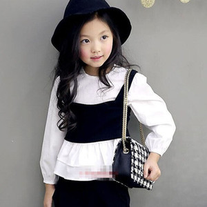Clearance sale fashion girls shirt+waistcoat 2pcs set long sleeve kids shirt Girls Shirts Kids Shirts Kids Tops Blouses Z271