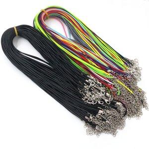 20 шт / много ручной работы Real Leather Регулируемая Плетеный Веревка ожерелья подвеска шармов омара Застежка Строка шнура 2 мм