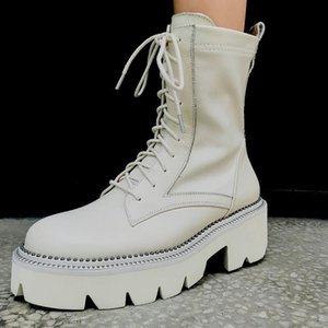 White Leather Platform Motorcycle Boots Round Toe Lace Up European Street Fashion Shoes Women Ankle Boots Black Size 42