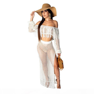 Women Beach Vintage Dresses Bikini Swimsuit Cover Up Mesh Crop Top Split Short Skirt Two Piece Outfits