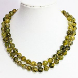 Semi-precious Stone Long Chain Necklace Yellow Veins Agat Dragon Carnelian Round Bead 8,10,12mm Fashion Jewels 36inch B1472