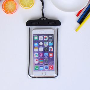 جديد شفافة pvc الفلورسنت الهاتف المحمول حقيبة للماء مضيئة الهاتف المحمول حالة شاشة تعمل باللمس السباحة شفافة للماء