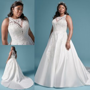 Graceful Plus Size Lace Appliqued Wedding Dresses Sheer Jewel Neck A Line Sequined Bridal Gowns Sweep Train Satin robe de mariée